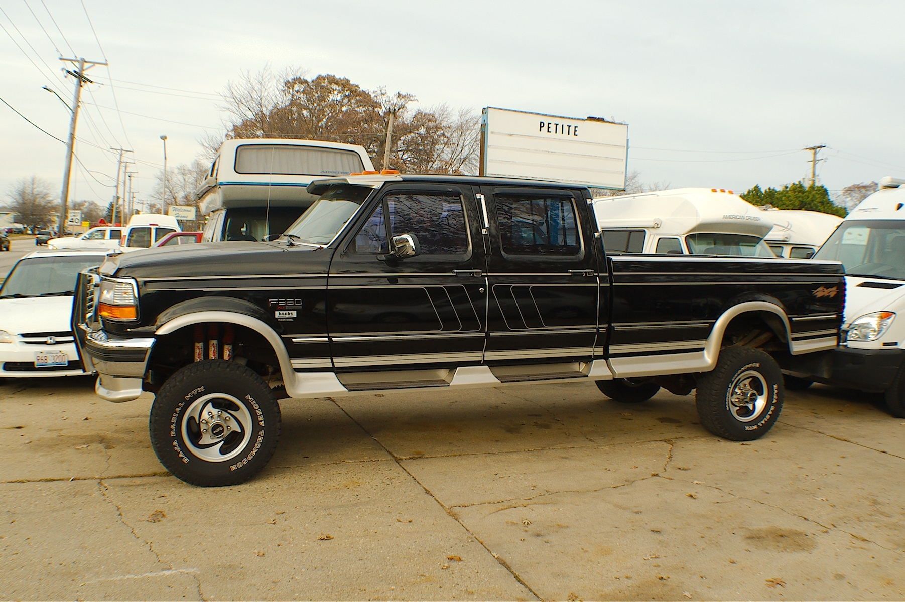 1994 Ford F350 Diesel Black 4x4 Custom Crew Cab Truck Sale Antioch Zion Waukegan Lake County Illinois