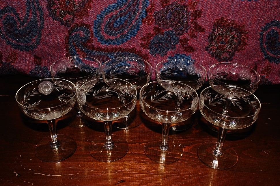 Wedding Glasses Crystal Champagne Glass Floral Etched Coupe Set Sale
