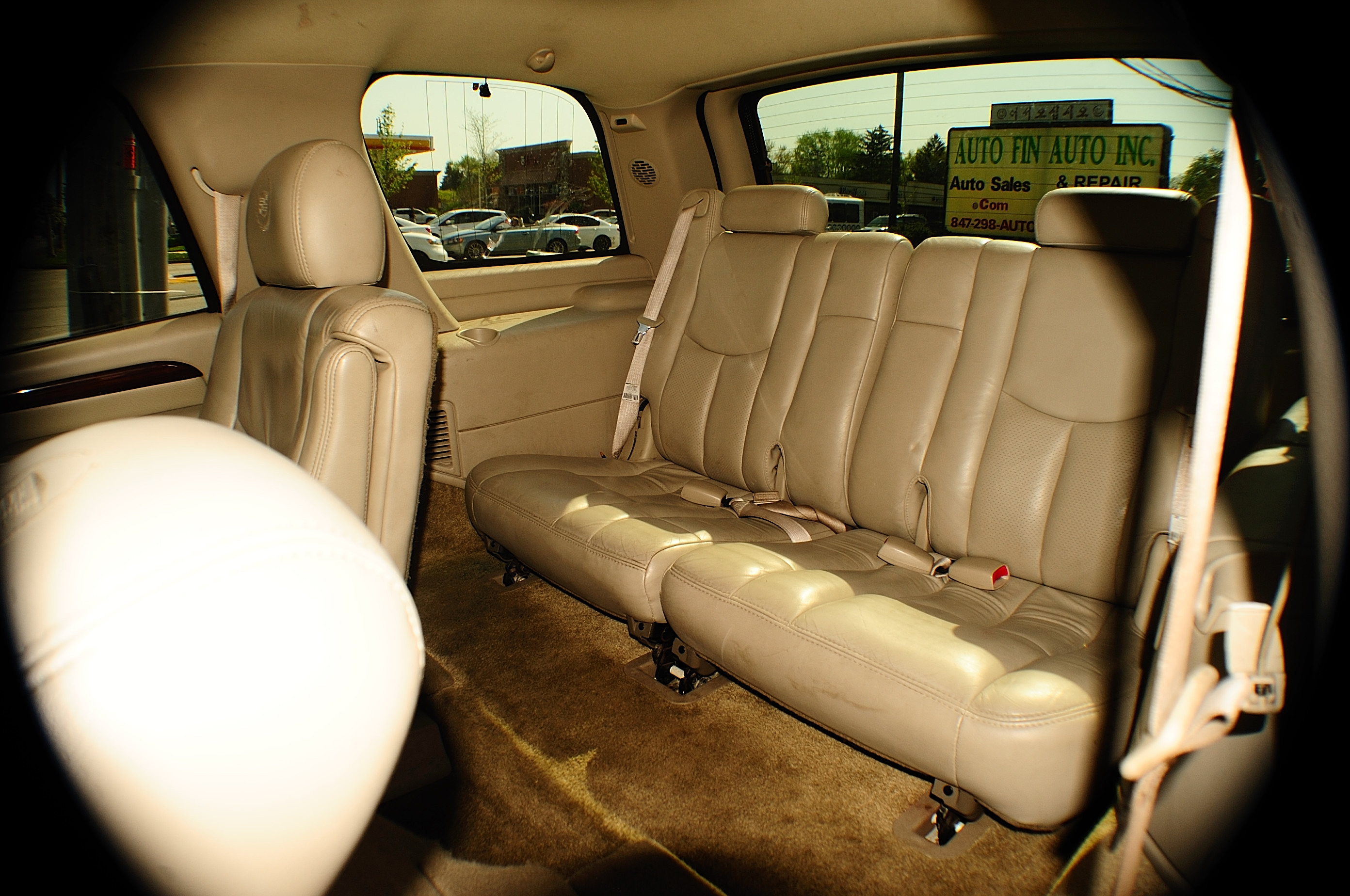 2003 Cadillac Escalade White TV Used SUV car sale DeKalb Des Plaines Elgin Elmhurst Evanston