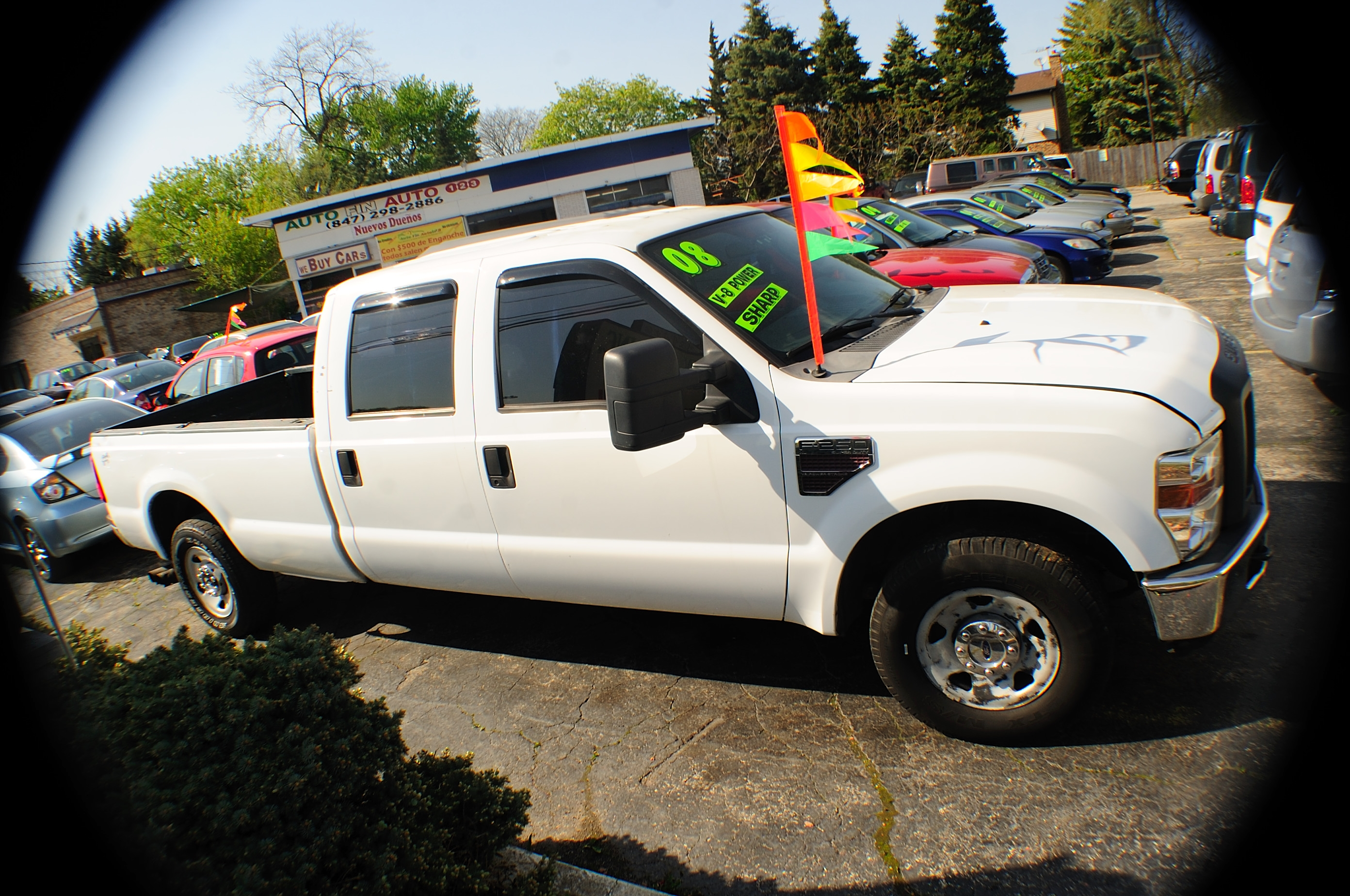 2008 Ford F250 White Crew 4x2 Diesel Truck sale Addison Algonquin Arlington Heights Bartlett