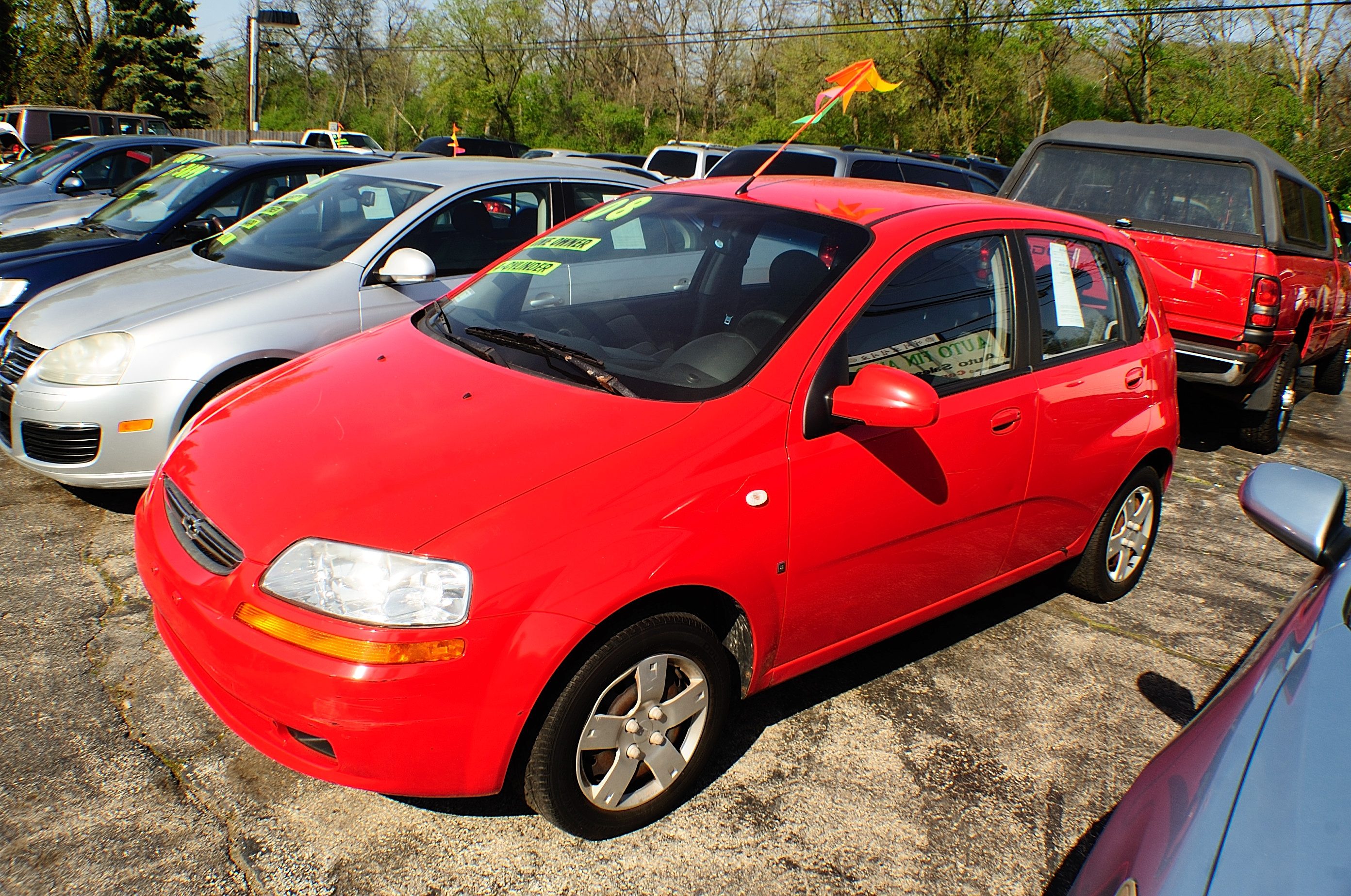 2008 Chevrolet Aveo Red Manual Used Compact car sale Addison Algonquin Arlington Heights Bartlett