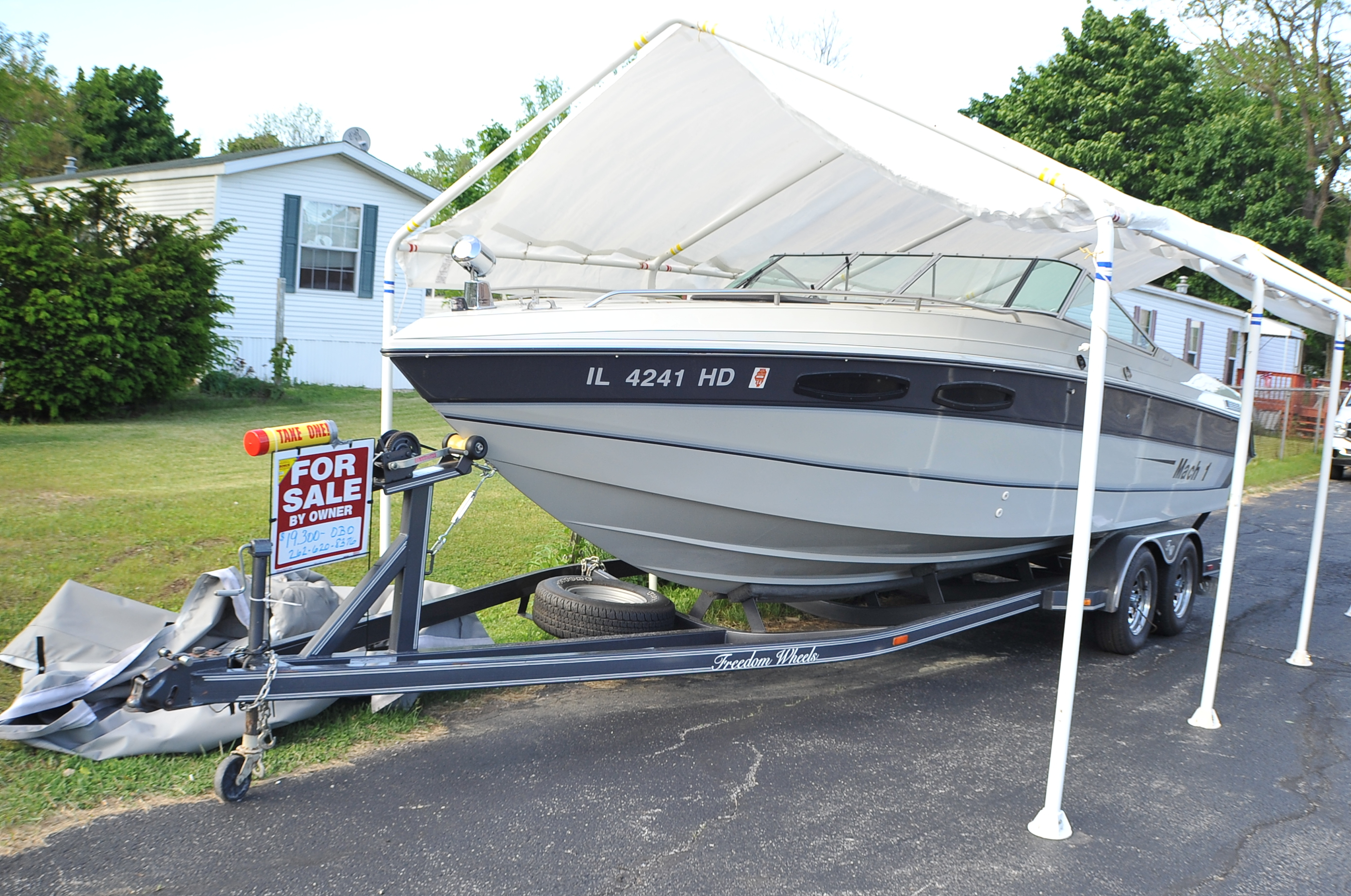 1989 Mach 1 2450 Magnum Cuddy Cabin Speed Boat Sale Barrington Beach Park Buffalo Grove