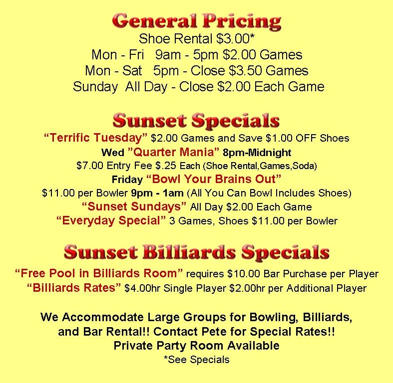 Sunset Bowl Bowling alley Waukegan work kids birthday Party Bar