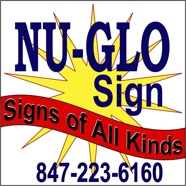 Nu Glo Signs menu signs school church signage banners bucket crane service Illinois