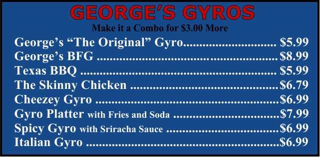 cheese burgers Waukegan Georges Gyros
