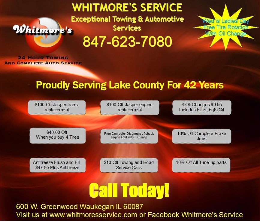 Whitmores Towing tow company Lake County Best Auto Service Garage Waukegan Zion Gurnee